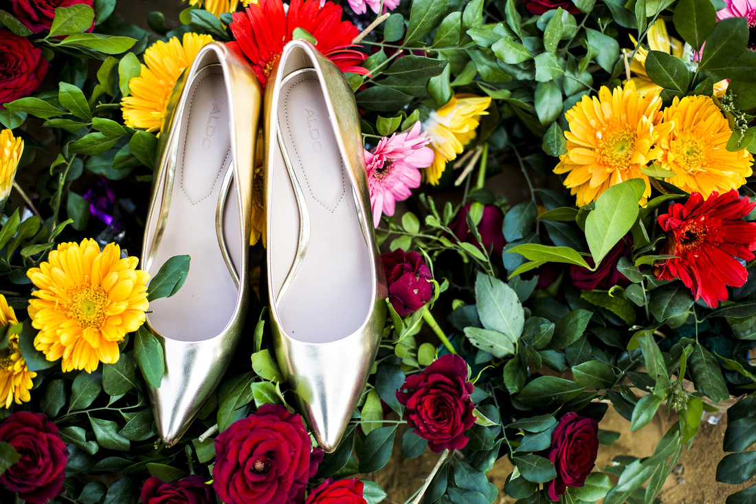 Bride shoes in flowers